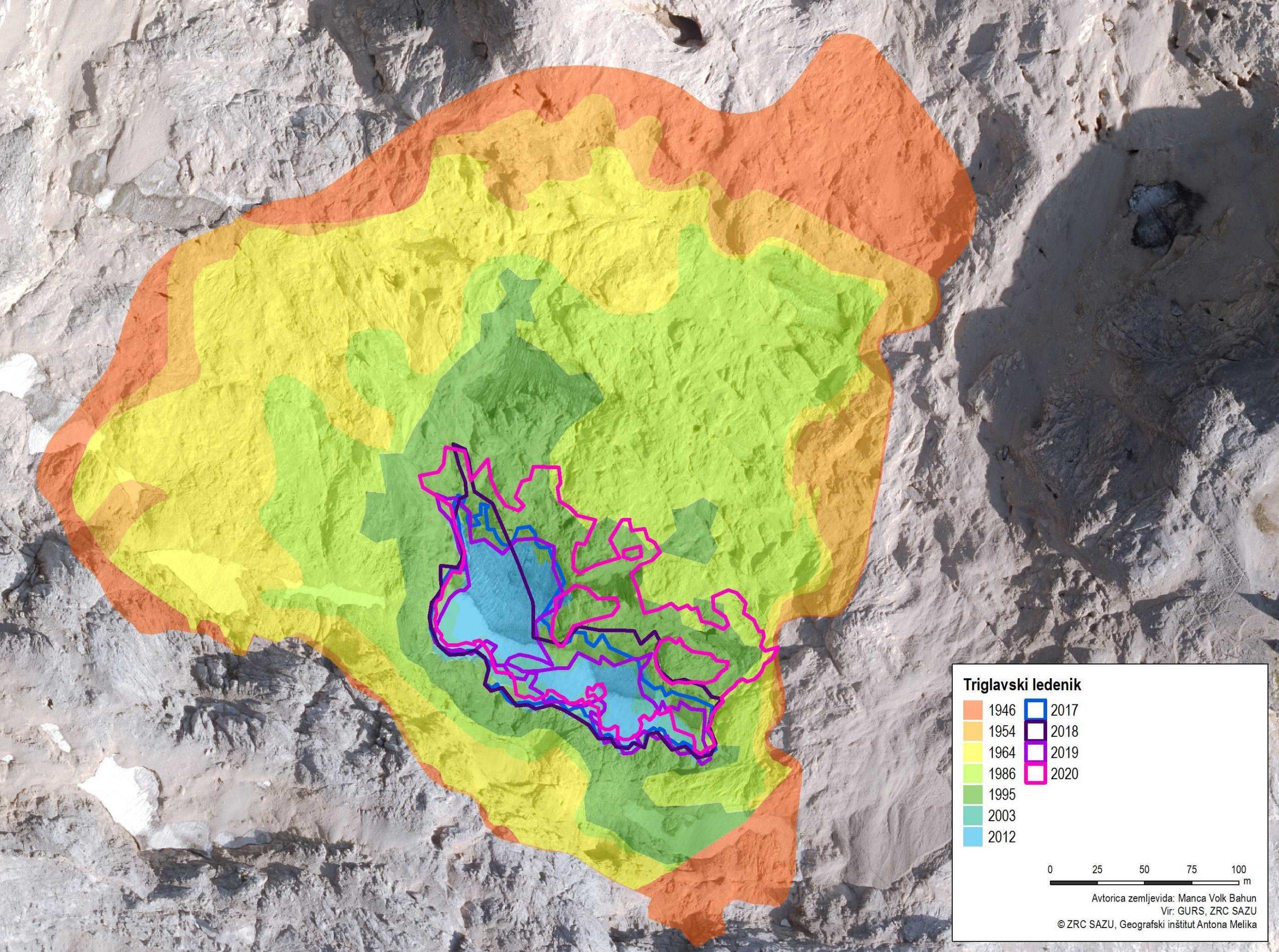 Površina Triglavskega ledenika